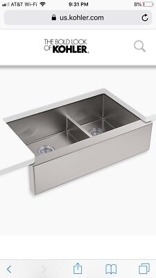 "KOHLER 36"" STAINLESS Steel Kitchen Sink Undermount Double Basin Smart Divide"