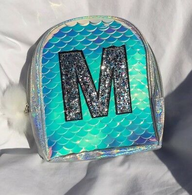 Justice NWT Girls Gleaming Mermaid Scale Mini Backpack Initial  M NWT