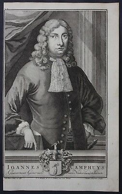 1726 Johannes Camphuys Governor East Indies Portrait engraving Valentijn Asia
