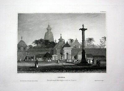 1840 - Odisha Orissa Pooree Indien India Asien Asia engraving Stahlstich