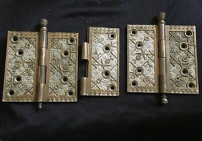 Pair Of Large  Sargent EKADO   Bronze Hinge Dated Aug 18/1885s.