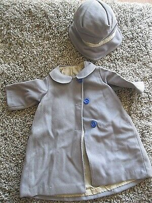 Vintage CHILD'S BLUE COAT & BONNET Hat Clothing Clothes Girls