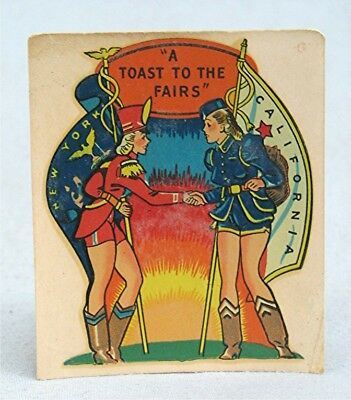 Vintage Decal Patriotic Pin Up Girls A Toast To The Fairs New York & California