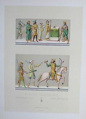 1880 - Europa Europe costumes Tracht Trachten Original Lithographie lithograph