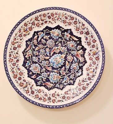 """Vintage Enamel Plate Rised Flowers Wall Hanging Charger Plate 12"""" Iran"""