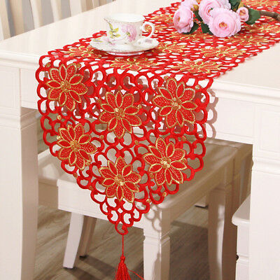 Red Flower Vintage Table Runner Tablecloth Flag With Tassel Home Wedding Party