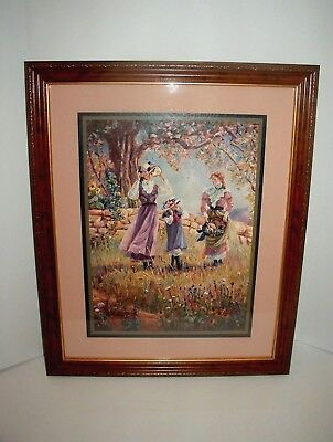 "Home Interior Picture Victorian Ladies holding their Bonnets in wind 22"" x 18"""