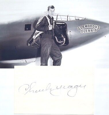 Chuck Yeager Autograph Signed Autograph 1947 1st Pilot Travel Faster Then Sound.