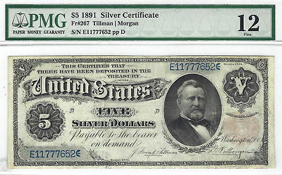 $5 1891 Educational Silver Certificate Fr#267 PMG F12