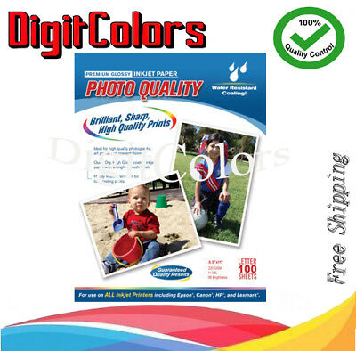 Premium Glossy Inkjet Photo Paper 85x11 Letter Size 100 Sheets