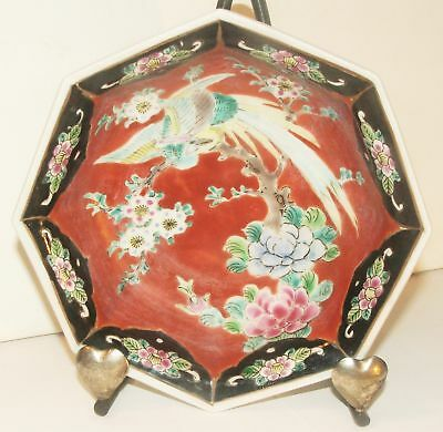 Imari Arita Made in Japan Ceramic 8 Sided Bowl Hexagon Dish Crane Chrysanthemums