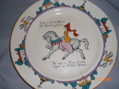 Antique A & S stoke on Trent Arcadian dish England Fine Lady on white horse