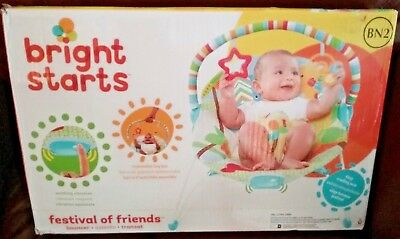 Adorable Bright Starts NIB Baby Bouncer~ Festival of Friends~Vibrating Seat~NICE
