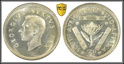 1952 Silver Proof South Africa 3 Pence 3D PCGS PR66 KM# 35.2 Only 16,000 Minted
