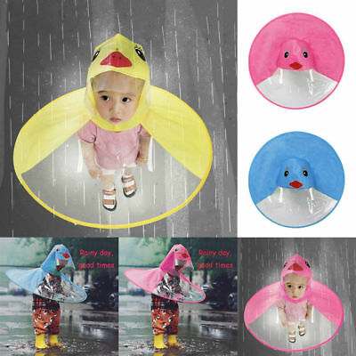 Kids Lovely Raincoat UFO Shape Cartoon Duck Hooded Jacket Rainsuit Rain Poncho
