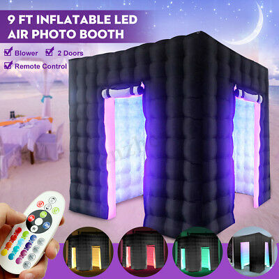 2.8M Inflatable Single Door LED Photo Booth Tent 7 Colors +Remote Control+Blower