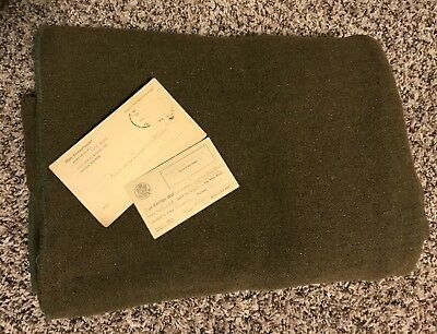 WW I U.S. MILITARY O.D. GREEN WOOL BLANKET w/ WWI Era Draft Cards