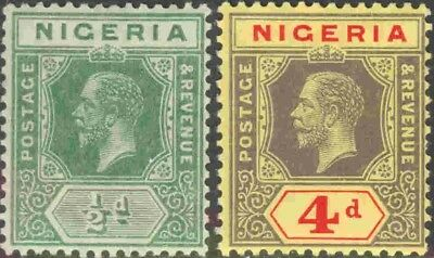 1914 Nigeria #1 & #6 Mint Hinged Pair of King George V Definitives