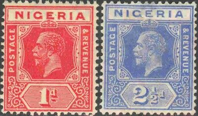 1921-1933 Nigeria #19 & #24 Mint Hinged Pair of King George V Definitives