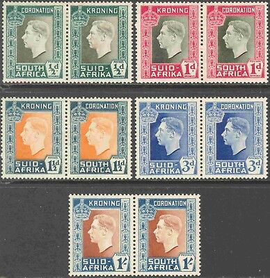 1937 South Africa #74-8 Cpl. Mint Hinged Set of 5 Bi-Lingual Pairs Coronation