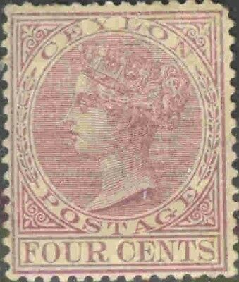 Ceylon #88 Mint Hinged Queen Victoria Toned Single Definitive