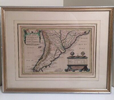 1705 De Fer Map Antique Chile Map Le Chili Hand Colored Matted Framed Chilean