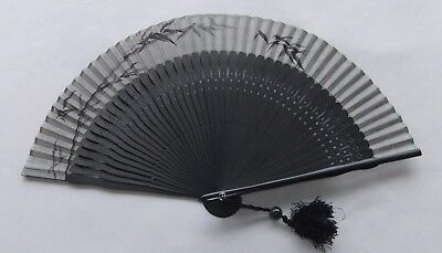 Vintage Japanese Hand Painted Bamboo Folding Fan Black Bamboo With Cloth Case
