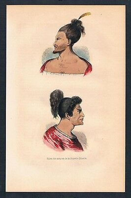1840 - Neuseeland New Zealand Asien Asia costumes Trachten antique print