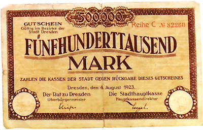 1923 Germany DRESDEN 500.000 Mark  Banknote