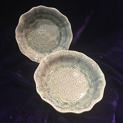 Set of 2 Celadon Colored Crackle Glaze Bowls by Sthal EXCELLENT