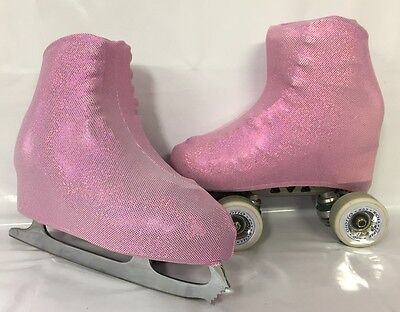 Pink on Pink Holo Spots Lycra Boot Covers for RollerSkates and Ice Skates  S,M,L