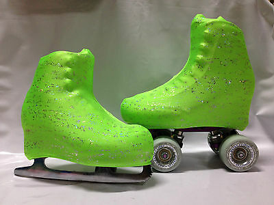 Green With Holo Splashes Boot Covers for RollerSkates and Ice Skates  SMALL ONLY