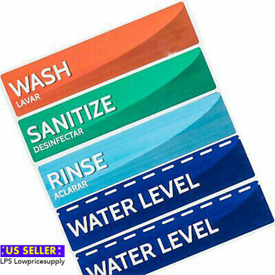 Wash Rinse and Sanitize Sink Labels   Sticker Signs for Restaurants, Kitchens,