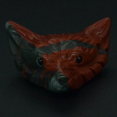 Howling Wolf  Blood Stone Animal Pendant Hand Carved Necklace Jewelry