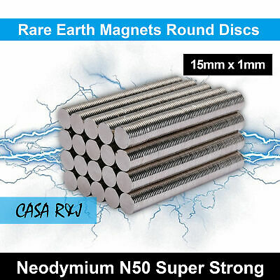 15mm x1mm Rare Earth Strong Magnet Disc Round Cylinder Neodymium N 50