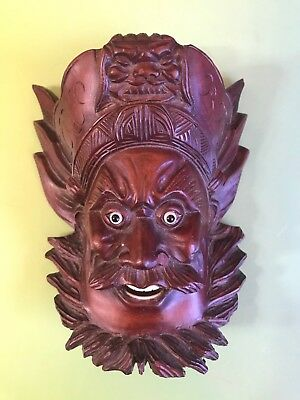 Antique Chinese Over-Door Carved Wood Head Bearded Man Mask China RARE