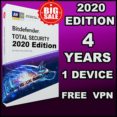 Bitdefender Total Security 2019 - 4 Years 1 Device Activation - Download