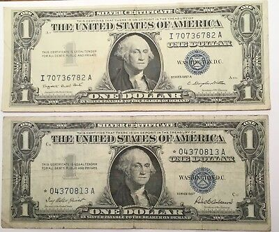 $1 ONE DOLLAR Silver Certificate (2) Note Set. 1957 and 1957 STAR ...