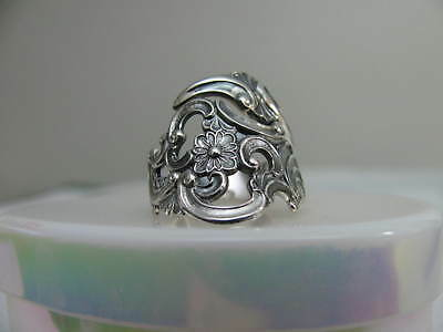 Th.Marthinsen NORWAY Silver 830 spoon RING s 6 1/4 FLORAL PIERCED Jewelry # 6257