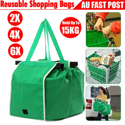 2/4/6X Reusable Shopping Trolley Bag Tote Eco-Friendly Grocery Cart Carrier Bags