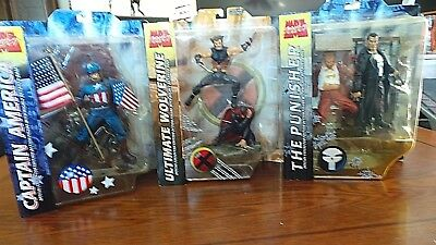 Lot Of 3 Marvel Select Action Figures- Wolverine-Punisher-Captain America