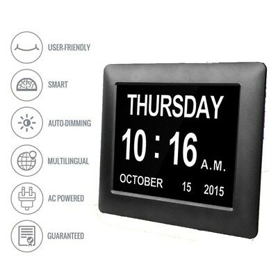 Extra Large Dementia Digital Memory Loss Calendar Day Clock Alarm for Elderly UK