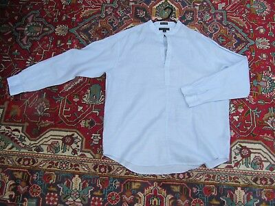 Big and Tall 'Marine Yachting' baby blue cotton/linen fine shirt 52 chest x 33
