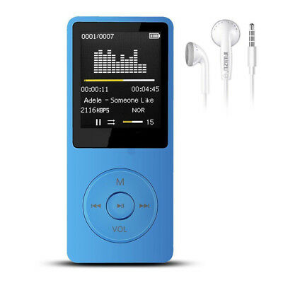 """New Ultra-thin MP4 Music Player 80hours Play 1.8"""" Screen/FM/E-Book Blue WD"""
