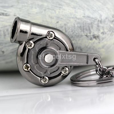 Silver Simple Cool Sleeve Bearing Gunmetal Spinning Turbo Keychain keyring WD