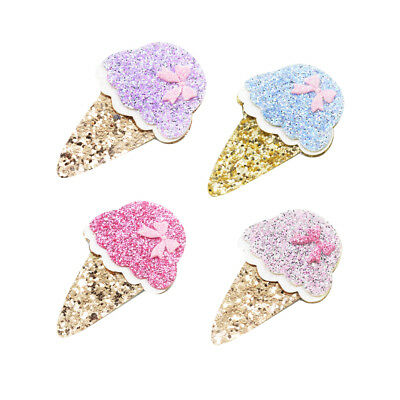 4x Ice Cream Shape Felt Pieces DIY Baby Hair Accessories Hair Bows Findings