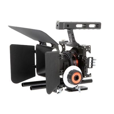 DSLR Video Film Stabilizer Kit Rod Rig Cage+ Handle Grip+Follow Focus for Sony