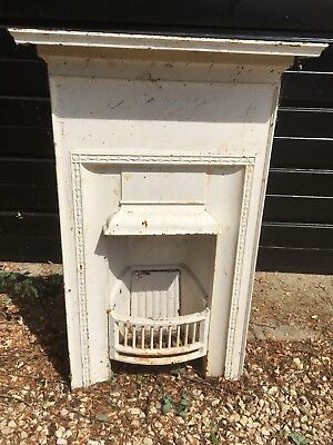 Victorian Cast Iron Fireplace With Mantelpiece, Grate And Fireback