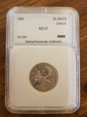 CANADA - 1963 - 25 cents - Graded MS-67