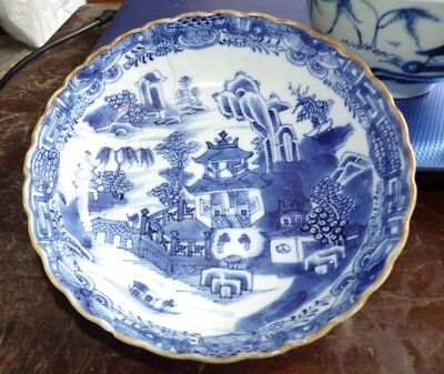 2 B And W Chinese Porcelain Pieces  And An 18Th Century English Chinoiserie Bowl